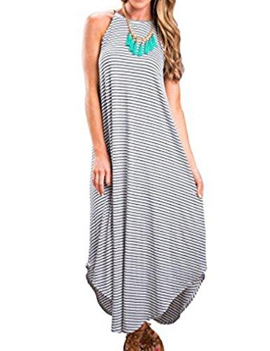 3a5e2d703b7 ETCYY Women s Summer Casual Stripe Sleeveless Loose Beach Maxi Dress ...