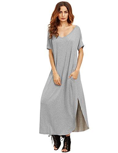 28659f9fe3e MakeMeChic Women s Casual Loose Pocket Long Dress Short Sleeve Split Maxi  Dress