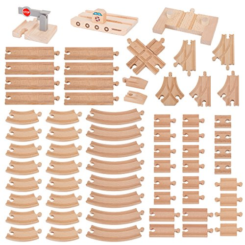 Orbrium Toys 68 Pcs Premium Wooden Train Track Expansion Pack Soul
